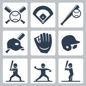 Baseball  icons set — Vettoriale Stock