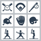 Baseball  icons set — Stock Vector