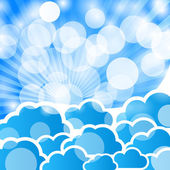 Abstract blue background with clouds and rays — Stock Vector