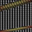 Metal background with caution line — Stock vektor
