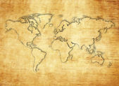 Papyrus paper world map — Stock Photo