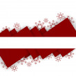 Abstract red triangles christmas background with snow flakes — Stock Vector