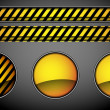 Abstract orange buttons and caution lines — Vector de stock