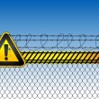 Abstract background with fence and road sign — Stock vektor