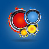 Set of abstract colorful vector circles on blue background — Stockvektor
