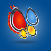 Set of abstract colorful vector circles on blue background — Wektor stockowy