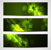 Astratto banner verde scuro con schizzi — Vettoriale Stock