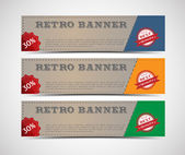 Abstract retro banners with badges, labels — Stock vektor