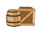 Brown wine barrel and wooden box — Stock vektor