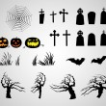Abstract halloween pumpkins tombstones bats creepy trees and web — Stock Vector #35550055