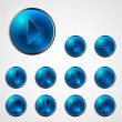 Abstract shiny blue media player buttons — Stock Vector