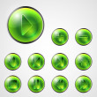 Abstract shiny green media player buttons — Stock Vector #35552785