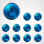 Abstract shiny blue media player buttons — 图库矢量图片