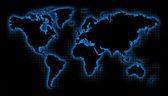 Carte du monde noir avec une lueur bleue et grille — Photo