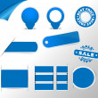 Blue stickers, tags, labels collection — Stock Vector #35560197