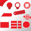Red stickers, tags, labels collection — Stock Vector