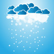 Abstract background blue clouds with snow — Stock Vector
