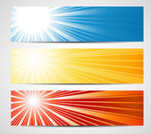 Abstract banners with sun rays — Stock Vector