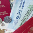 Russian pension certificate and certificate of insurance isolate — Stock Photo #41264805