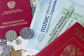Russian pension certificate and certificate of insurance isolate — Stock Photo