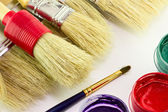 Brushes with paints — Stock Photo