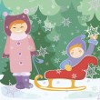 Children  with sled — Vector de stock  #35287037