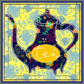 Floral designed tea pot . Tea time illustration — ストックベクタ