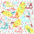 Multicolor cute easter seamless pattern with bunnies — Stock Vector
