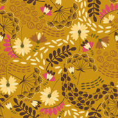 Decorative floral background with flowers on dark  yellow  background — Stock Vector