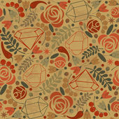 Abstract retro background with crystals, roses and spices. — 图库矢量图片