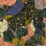 Deer skeleton with geometric polygonal ornament. — Stock Vector