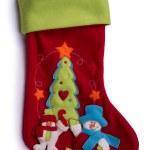 Handmade Christmas decorations: felt Santa boot isolated on whit — Stock Photo #36609455