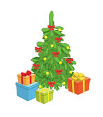 Christmas tree with gift boxes - vector — Stock Vector