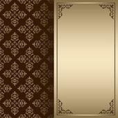 Carte de sombres vector vintage brun et or — Vector de stock