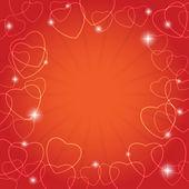 バレンタインデーのための心と赤いベクトル カード — ストックベクタ