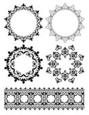 Decorative design elements - vector ornaments and round frames — Stock Vector