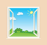 Open window with green nature outside - vector illustration — Stock Vector