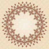 Round brown vintage ornament on light beige pattern - vector   — Stock Vector