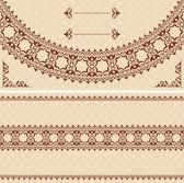 Beige card with dark brown ornament - vector — Stock Vector
