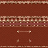 Brown vector card with beige ornament — Stock Vector