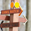 Stock Photo: Directional Sign Pointing Way To Hawk Watch