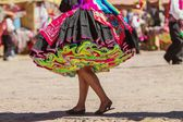 Gonna colorata durante un festival di taguile isola, Perù, bolivia — Foto Stock