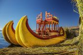 Reed boat on Island of Uros — Stock Photo