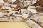 Detail of Salt ponds with working local people in the background, Maras, Peru, South america — Stock Photo