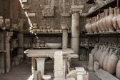 Pottery issued from excavations of Pompeii, Italy — Stock Photo