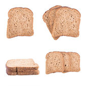 Pieces of bread isolated on white background — Stock Photo