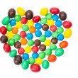 multicolored,  colorful candy, sweets in the shape of hearts isolated on a white background — Stock Photo