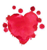 Red watercolor heart, isolated on white background, drops, spray — Stock Photo