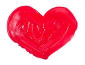 Coração de tinta aquarela, acrílico, isolada no fundo branco — Fotografia Stock