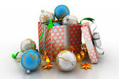New year gift box with bubbles — Stockfoto